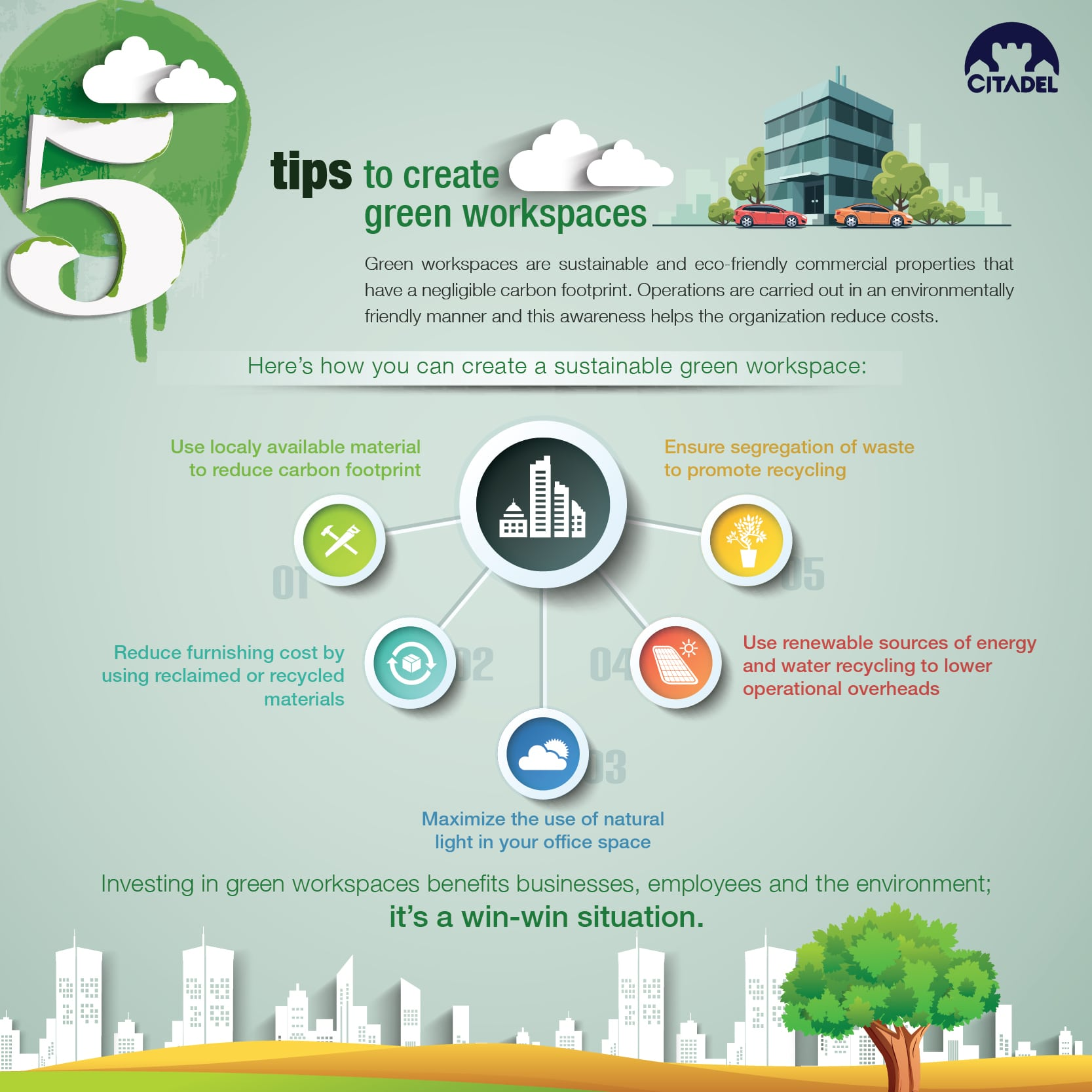 5 tips to create green workspaces-infographic
